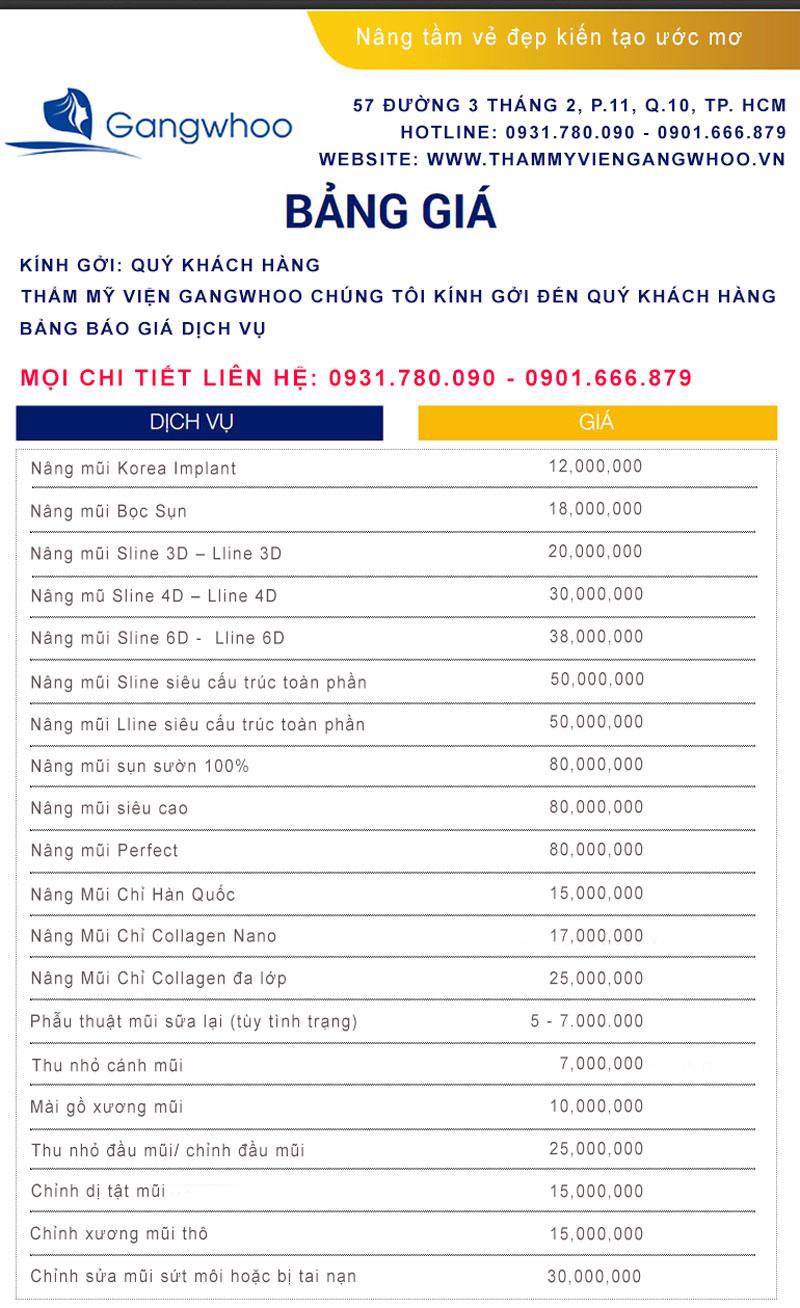 Bảng giá nâng mũi suamui.net